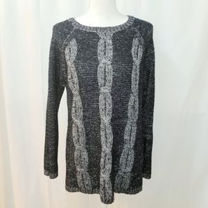 New Directions Black and Grey Cable Knit Sweater